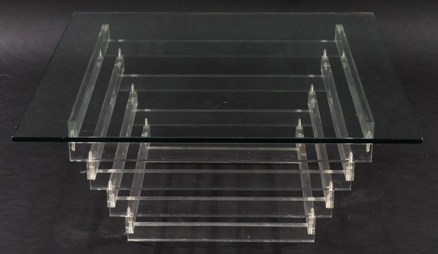 LUCITE COFFEE TABLE WITH GLASS TOP CIRCA 1980