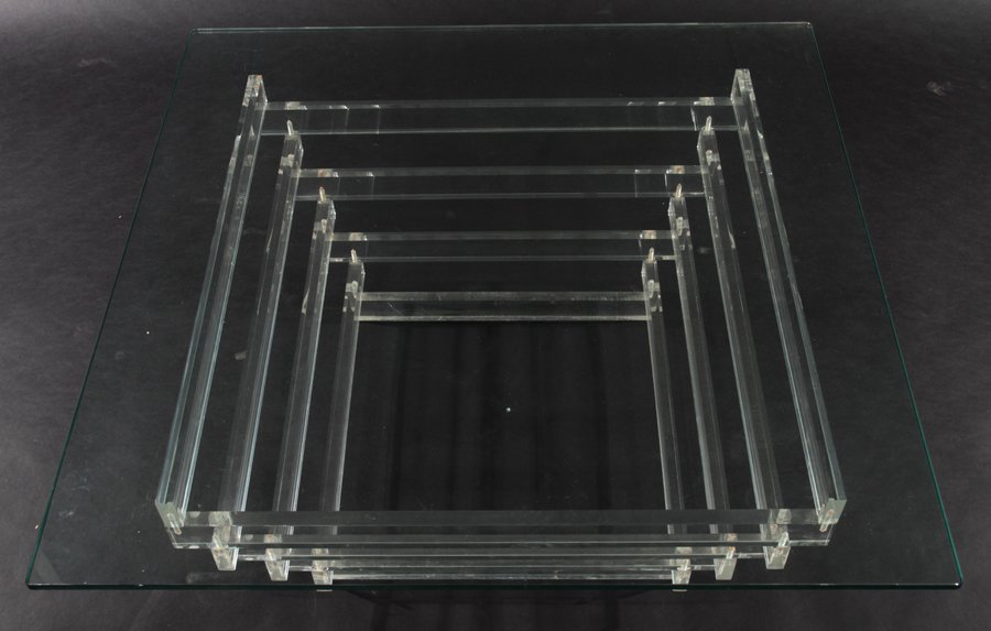 LUCITE COFFEE TABLE WITH GLASS TOP CIRCA 1980 - 2