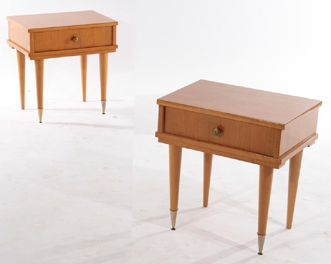 PAIR FRENCH SIDE TABLES SINGE DRAWER