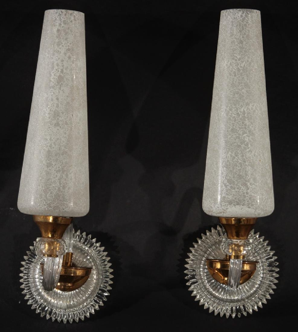 PR ITALIAN MID CENTURY MODERN GLASS SCONCES 1970