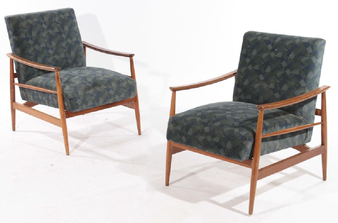 PAIR DANISH MID CENTURY MODERN ARM CHAIRS 1960