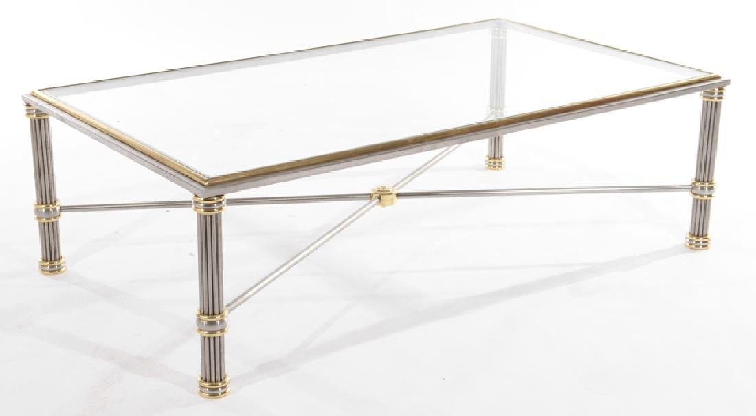 FRENCH MODERN CHROME AND BRONZE COFFEE TABLE