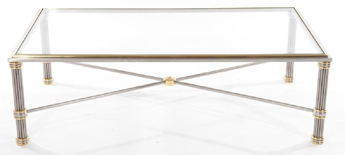 FRENCH MODERN CHROME AND BRONZE COFFEE TABLE - 2