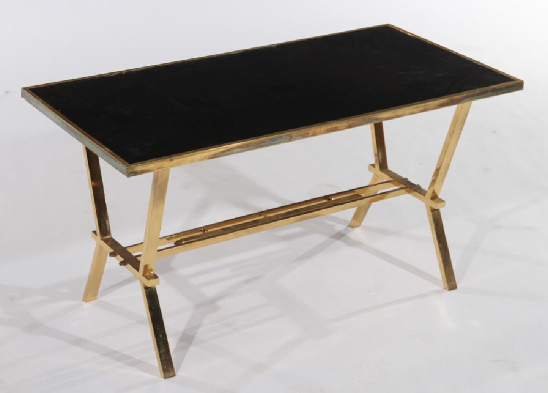 FRENCH BRASS COFFEE TABLE WITH BLACK TOP