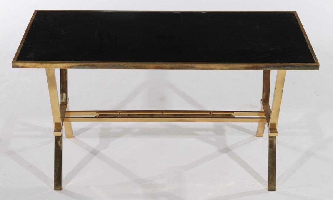 FRENCH BRASS COFFEE TABLE WITH BLACK TOP - 2