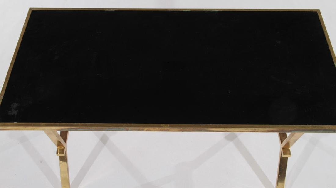 FRENCH BRASS COFFEE TABLE WITH BLACK TOP - 3