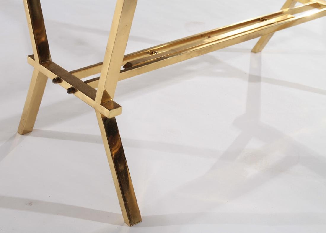 FRENCH BRASS COFFEE TABLE WITH BLACK TOP - 4