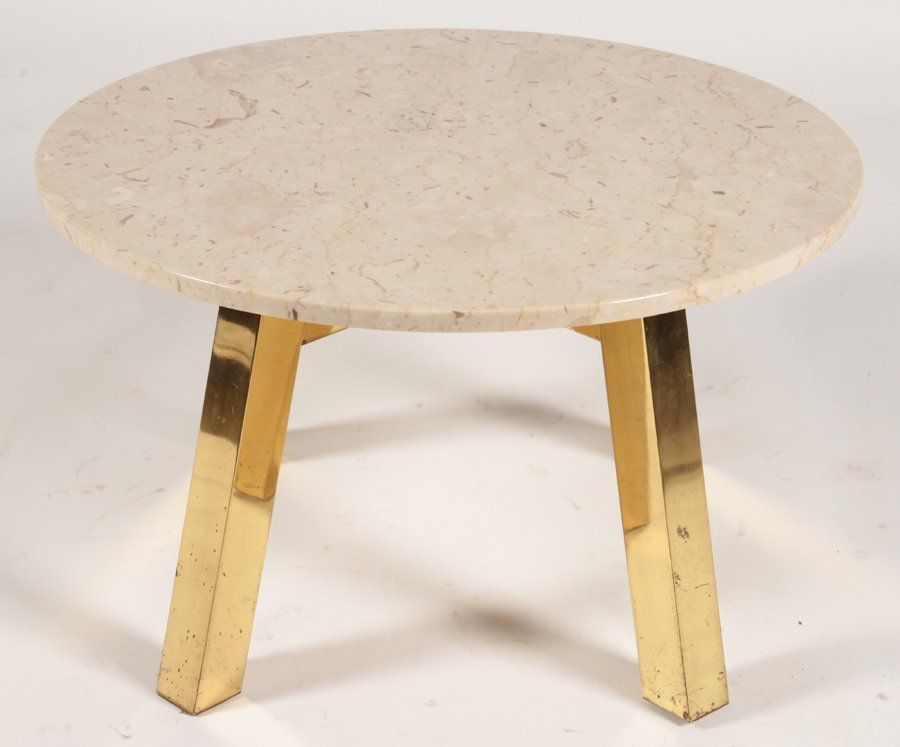 MID CENTURY MODERN COFFEE TABLE WITH STONE C.1970