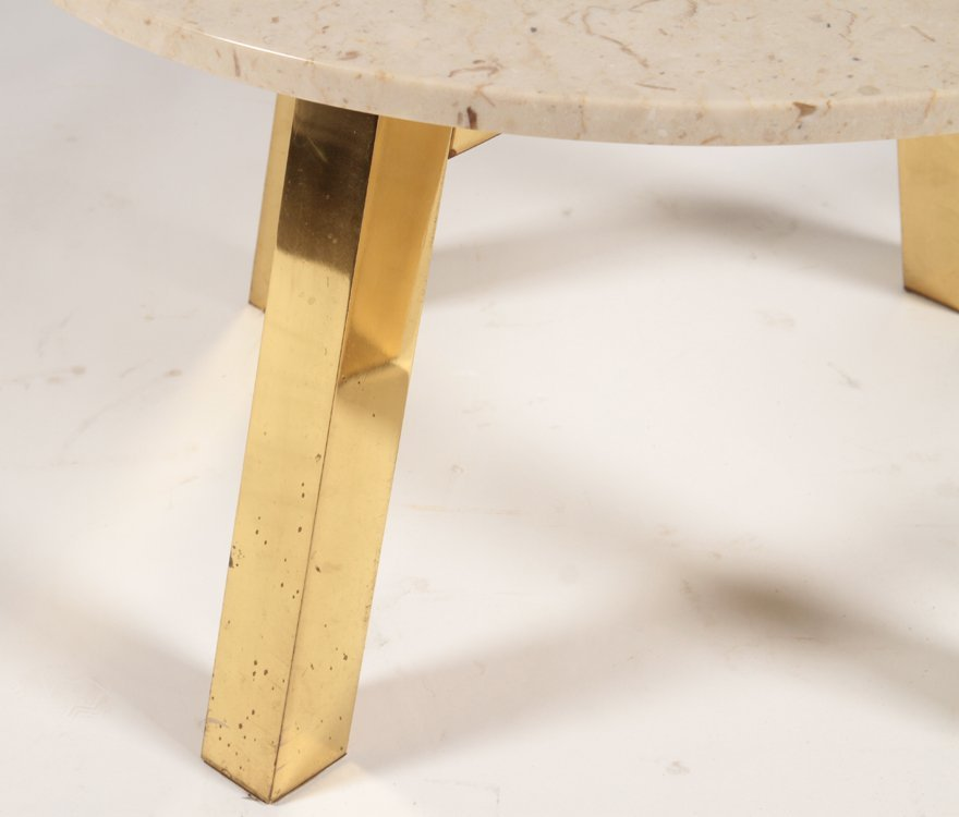MID CENTURY MODERN COFFEE TABLE WITH STONE C.1970 - 3