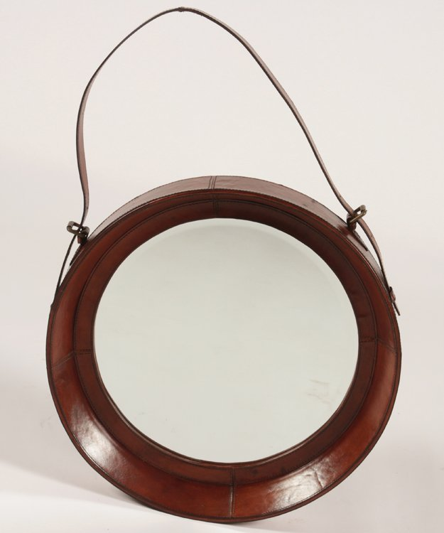 LEATHER WRAPPED BULLS-EYE MIRROR