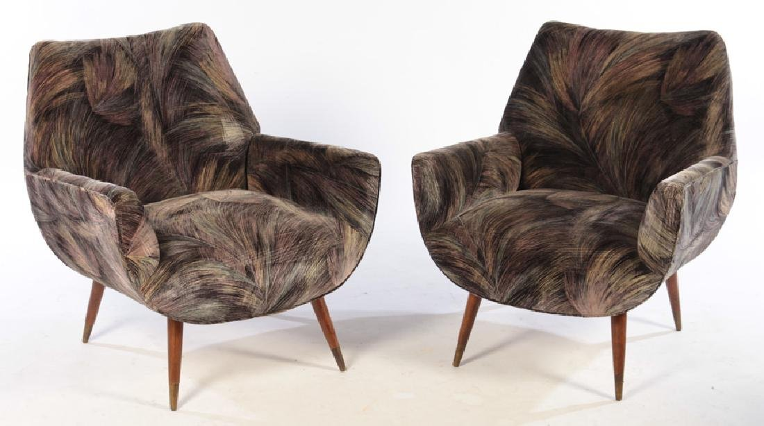 PAIR MID CENTURY UPHOLSTERED CLUB CHAIRS