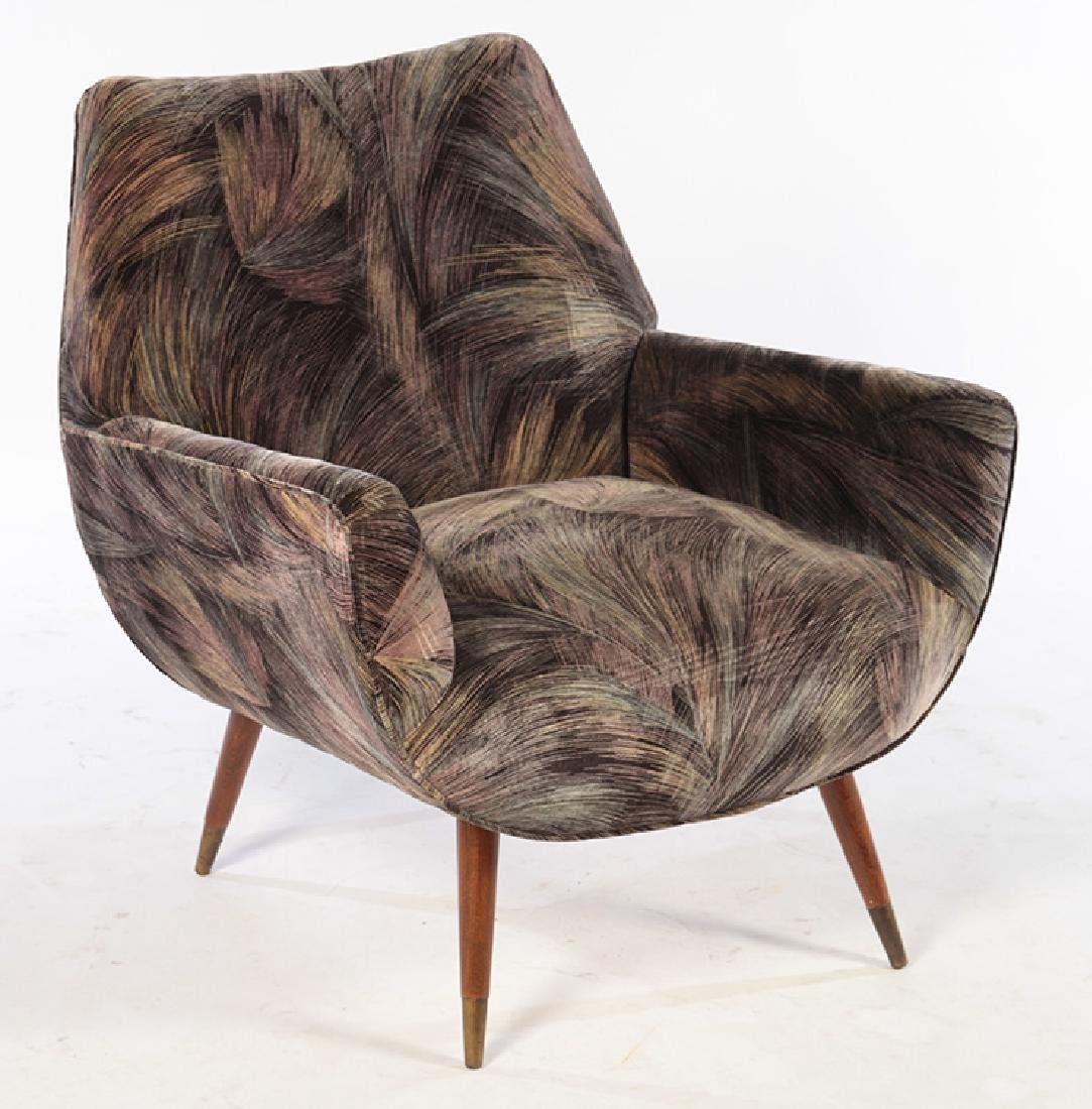 PAIR MID CENTURY UPHOLSTERED CLUB CHAIRS - 2