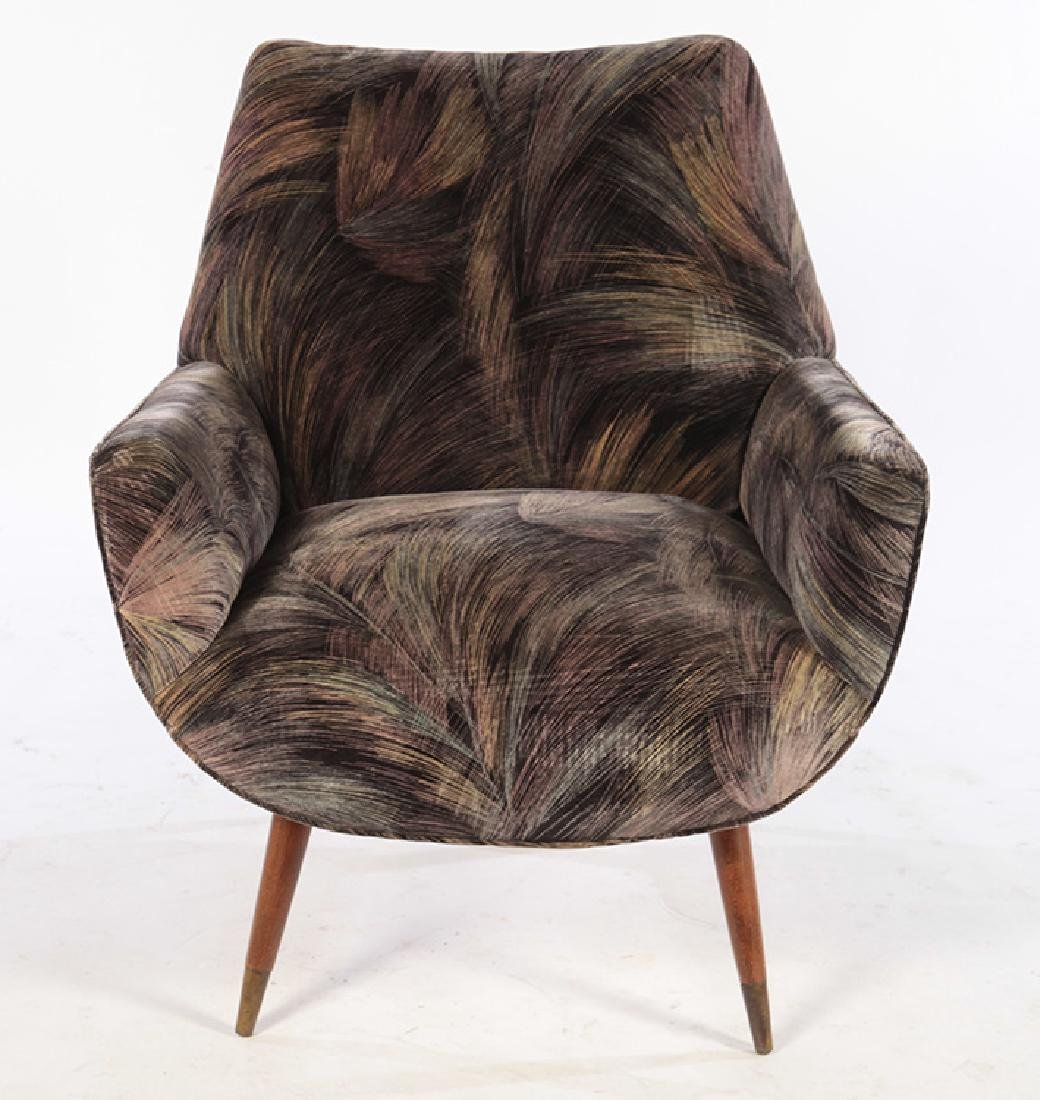 PAIR MID CENTURY UPHOLSTERED CLUB CHAIRS - 3