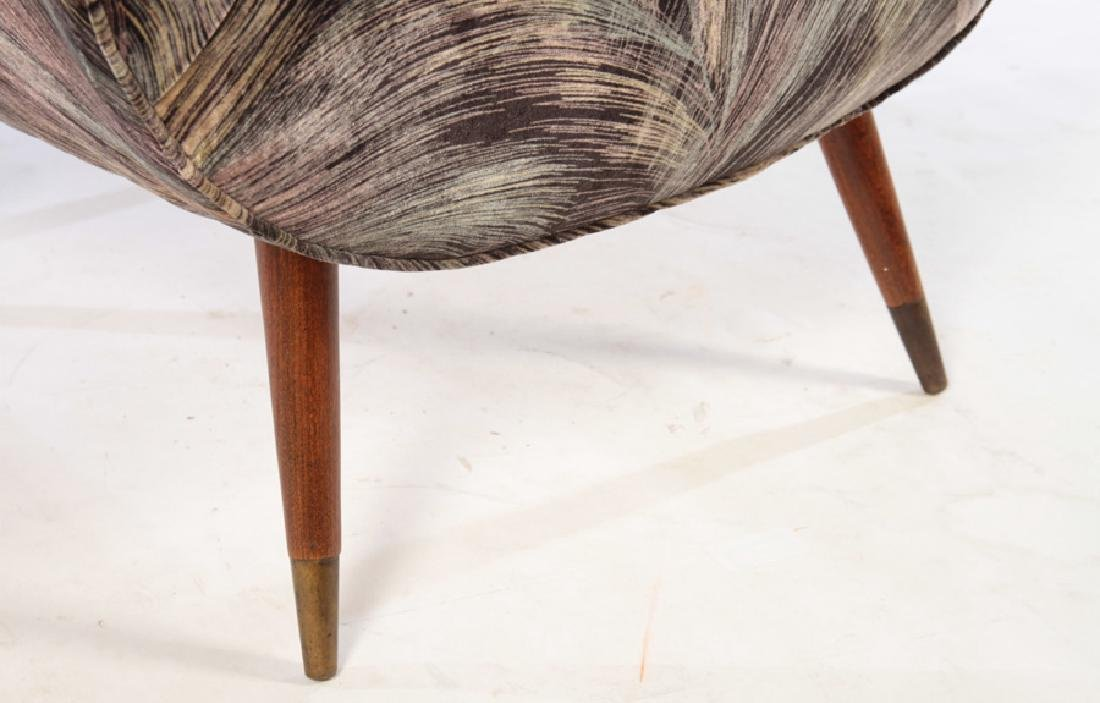 PAIR MID CENTURY UPHOLSTERED CLUB CHAIRS - 5