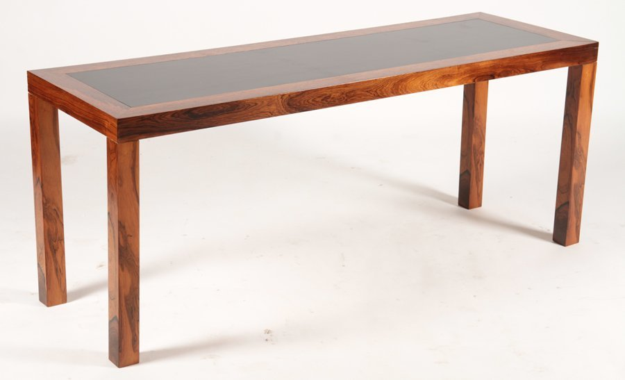 DANISH ROSEWOOD PARSONS CONSOLE EBONIZED TOP