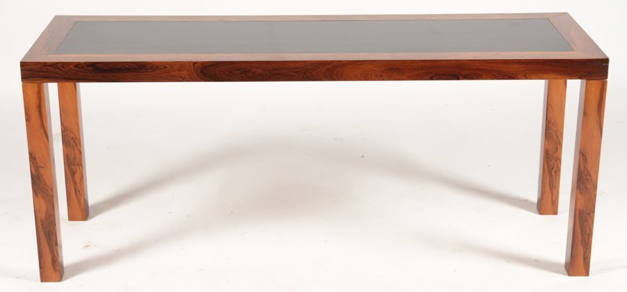 DANISH ROSEWOOD PARSONS CONSOLE EBONIZED TOP - 2