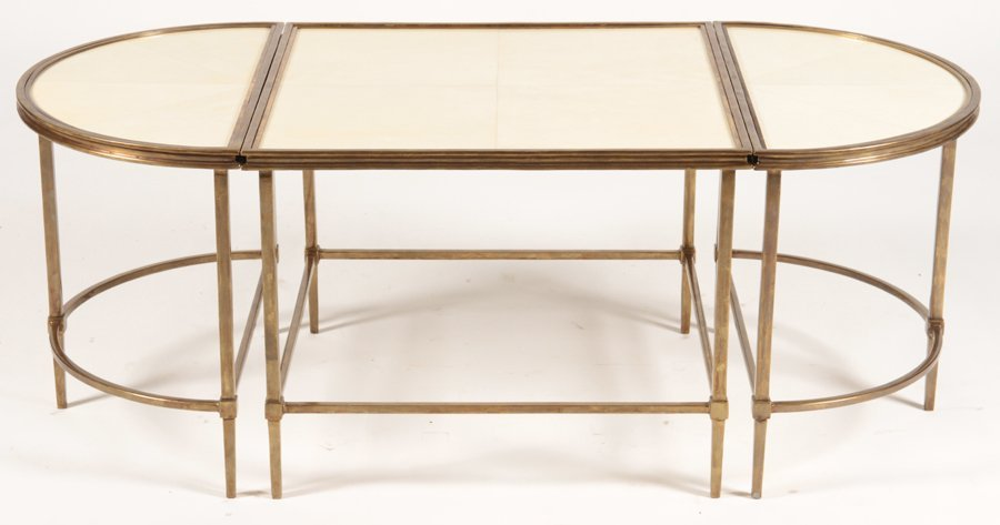 PLATEAU STYLE 3 PART COFFEE TABLE WITH PARCHMENT