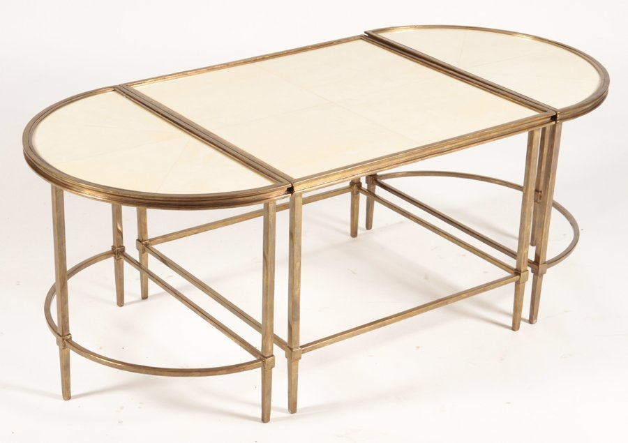 PLATEAU STYLE 3 PART COFFEE TABLE WITH PARCHMENT - 2