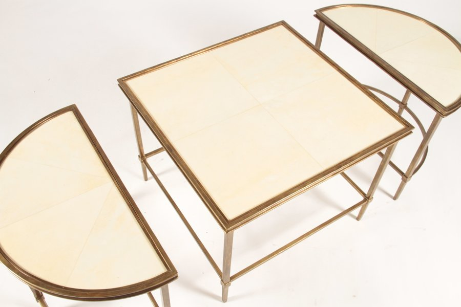 PLATEAU STYLE 3 PART COFFEE TABLE WITH PARCHMENT - 4