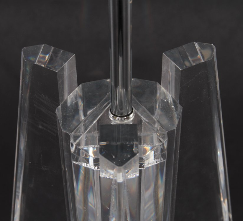 LUCITE TABLE LAMP TRIANGULAR WING 6 SIDED PRISM - 3