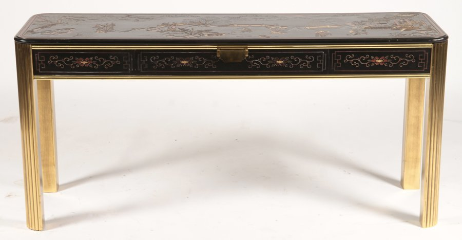 CHINOISERIE AND BRASS CONSOLE TABLE