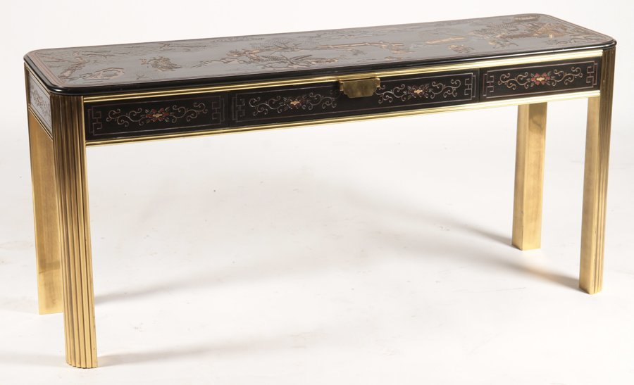 CHINOISERIE AND BRASS CONSOLE TABLE - 2