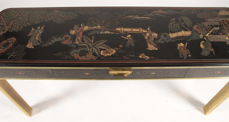 CHINOISERIE AND BRASS CONSOLE TABLE - 3