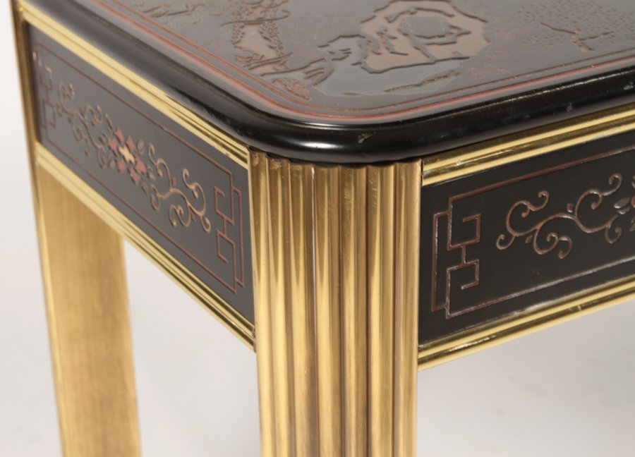 CHINOISERIE AND BRASS CONSOLE TABLE - 7