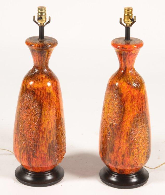 PAIR OF MID CENTURY MODERN CERAMIC TABLE LAMPS