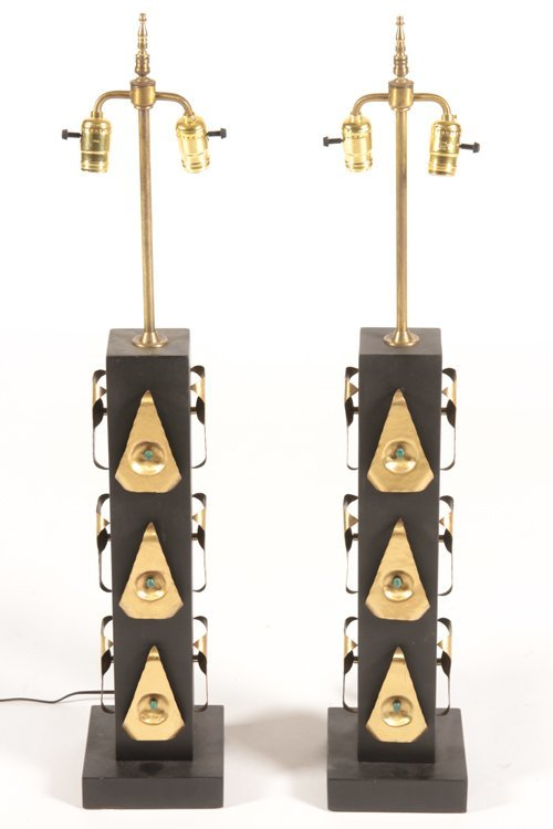 PAIR OF EBONIZED WOOD AND JEWELED TABLE LAMPS