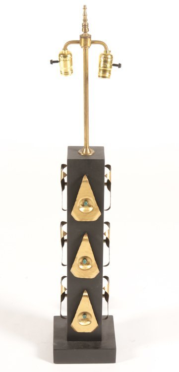 PAIR OF EBONIZED WOOD AND JEWELED TABLE LAMPS - 2