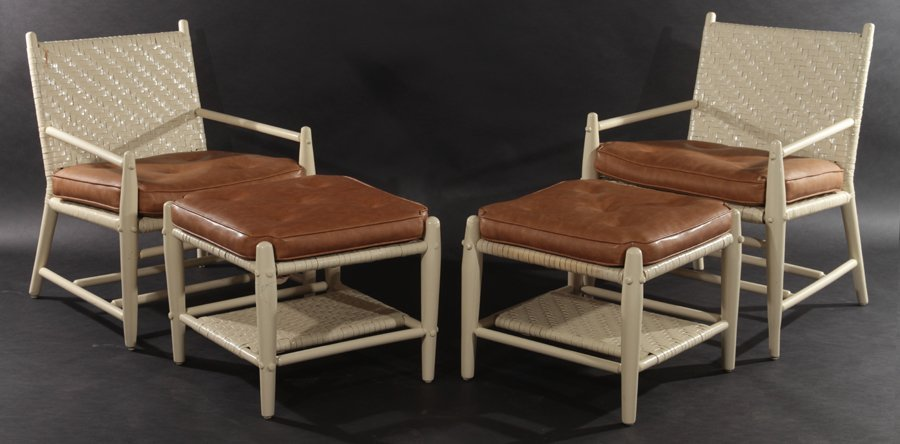 2 MODERNIST ADIRONDACK CHAIRS AND 2 OTTOMANS