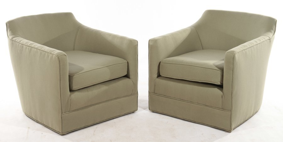 PAIR VINTAGE MACY'S UPHOLSTERED CLUB CHAIRS