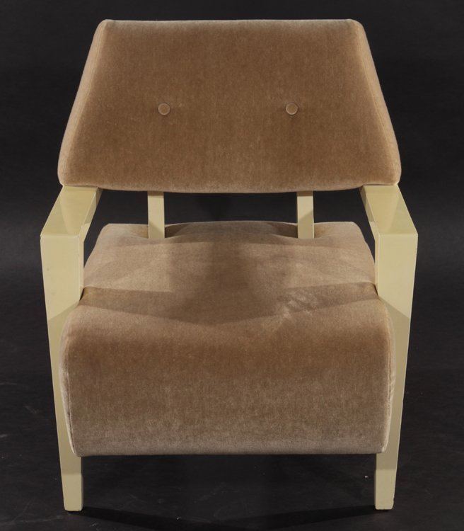 MID CENTURY MODERN UPHOLSTERED OPEN ARM CHAIR - 2