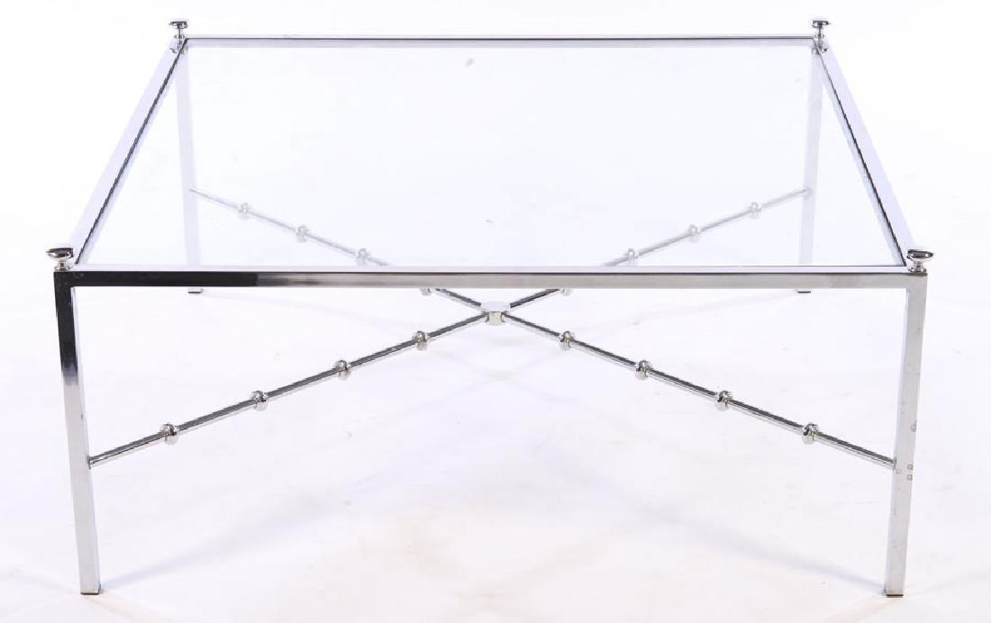 CHROME MODERN COFEE TABLE GLASS TOP