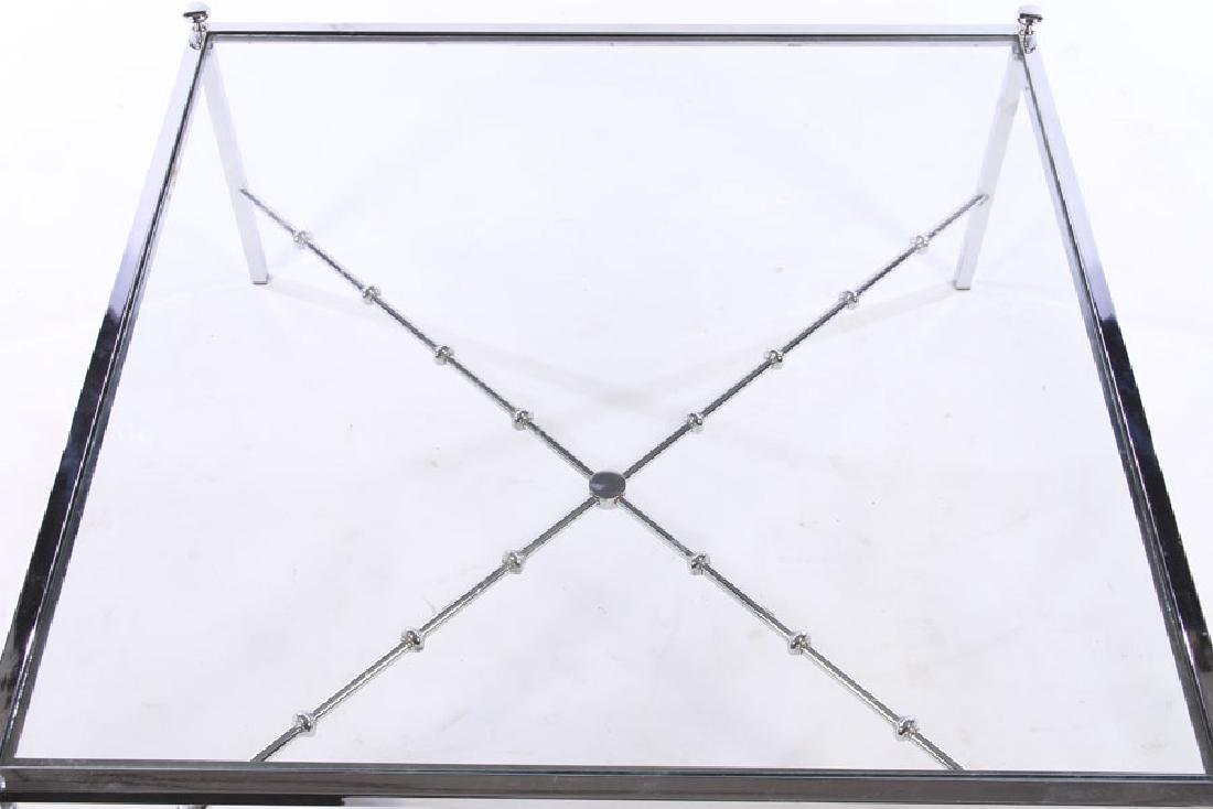 CHROME MODERN COFEE TABLE GLASS TOP - 2