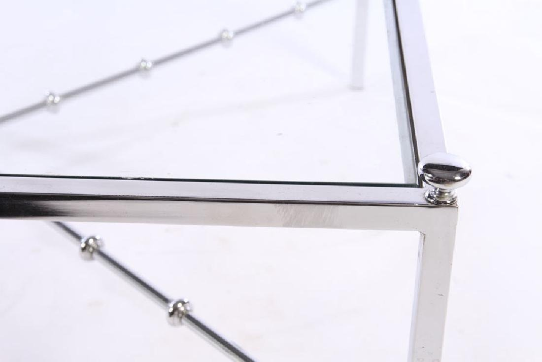 CHROME MODERN COFEE TABLE GLASS TOP - 3