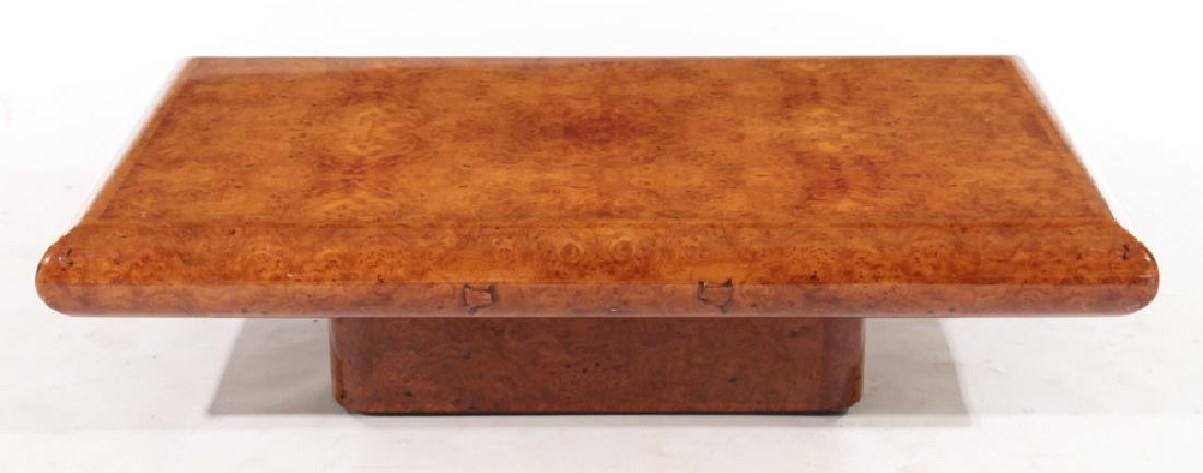 FRENCH BURL WOOD COFFEE TABLE PLINTH BASE 1980 - 2