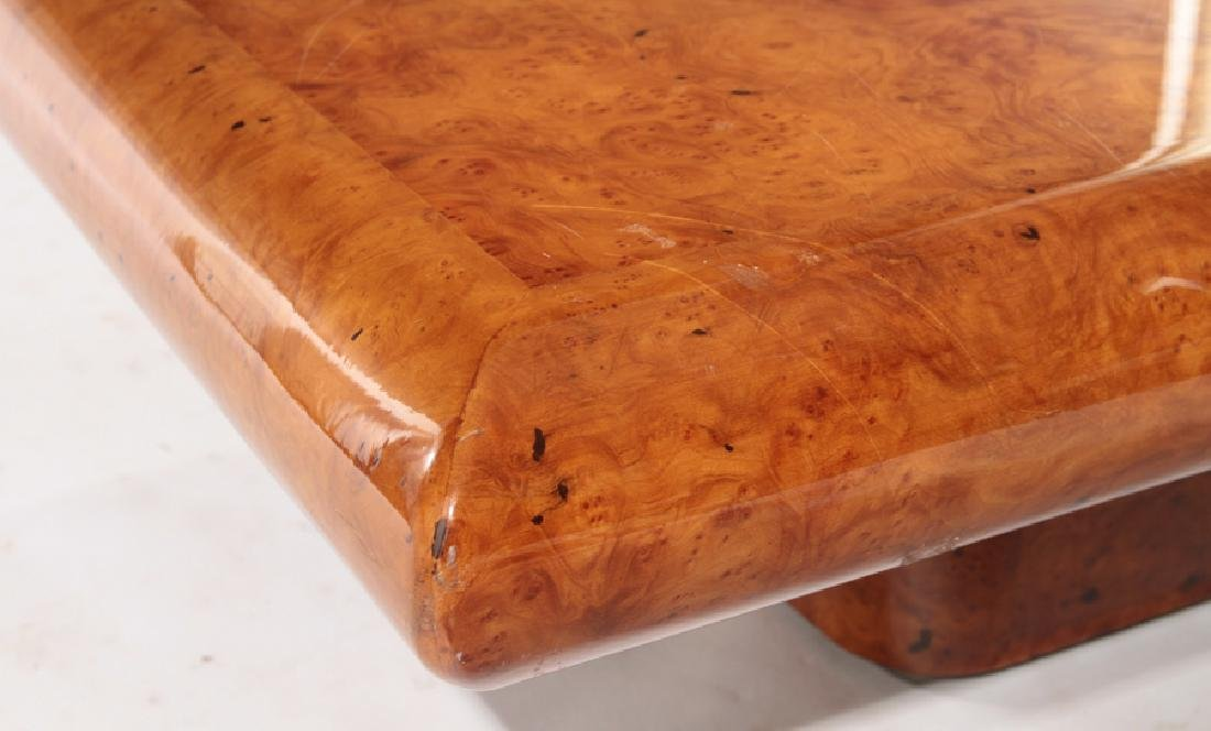 FRENCH BURL WOOD COFFEE TABLE PLINTH BASE 1980 - 4