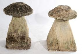 PAIR LATE 18TH CENT. CARVED STRADDLE STONES
