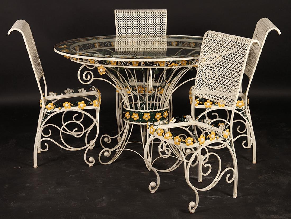 FRENCH WROUGHT IRON GARDEN TABLE CHAIRS 1960