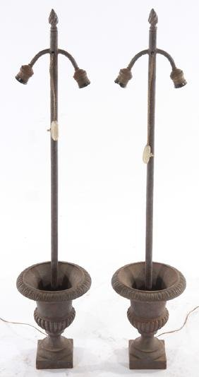 PAIR CAST IRON CAMPANA URN FORM TABLE LAMPS