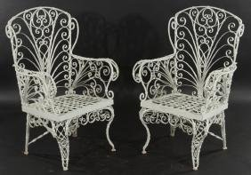 LARGE PAIR WROUGHT IRON GARDEN CHAIRS
