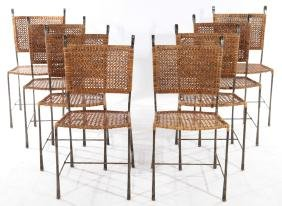 SET OF 8 FRENCH WROUGHT IRON WOVEN CHAIRS C.1960