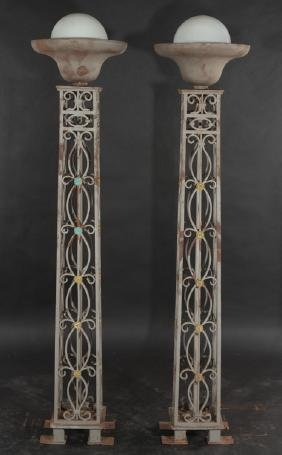 PAIR WROUGHT IRON BRONZE TORCHIERES 1915