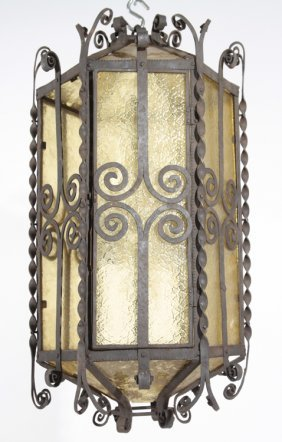WROUGHT IRON LANTERN SCROLL AND TWIST ELEMENTS