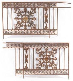 PAIR FRENCH CAST IRON PANELS GREEK KEY C.1860