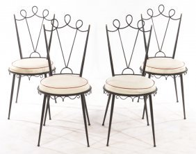 SET 4 FRENCH WROUGHT IRON SIDE CHAIRS C.1950