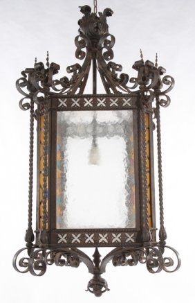 FRENCH IRON LANTERN INSET COLORED GLASS C.1880