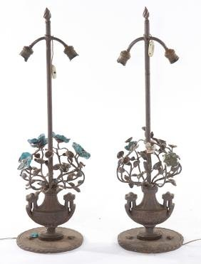 PAIR NEOCLASSICAL WROUGHT CAST IRON TABLE LAMPS
